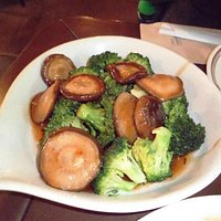 Broccoli with mushrooms in oyster sauce