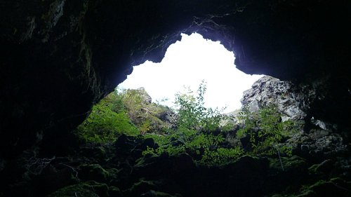 Looking up from one of the caves