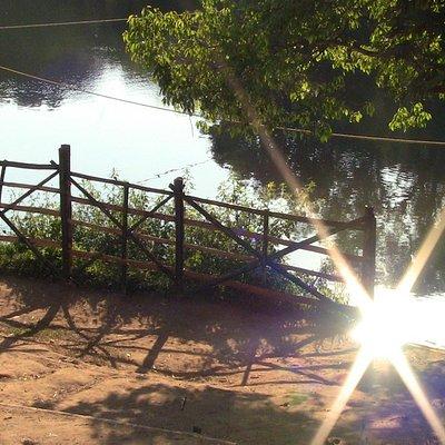 At the river crossing for Kuruva Island.