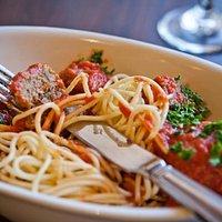 Spaghetti & homemade meatballs.