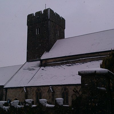 St Illtud's Church in the snow