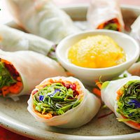 Fresh Herbal Spring Roll Mint, ginger, basil, carrot, beetroot, butterfly pea and sprout salad