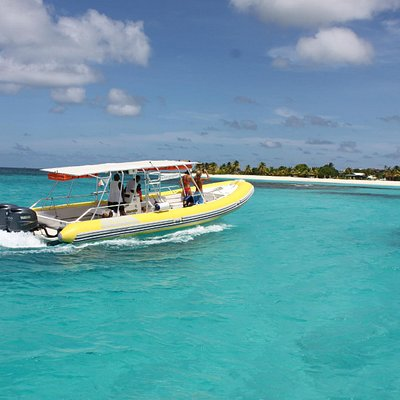 Zipping through the crystal clear Caribbean