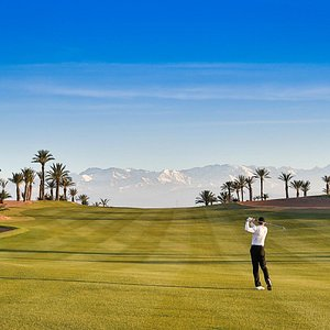 The 5th hole fairway with a view of the Atlas mountains