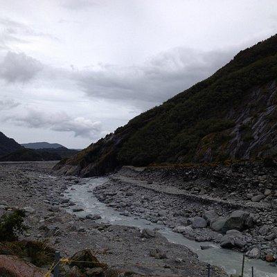 Walking toward the glacier