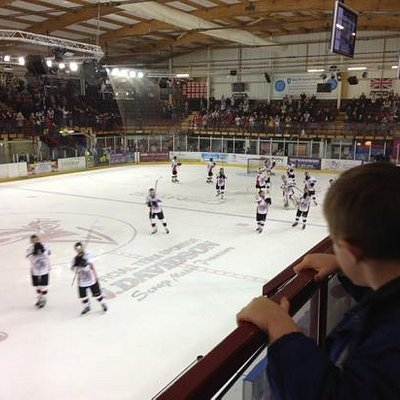 My son watching the Manchester Phoenix Ice Hockey team