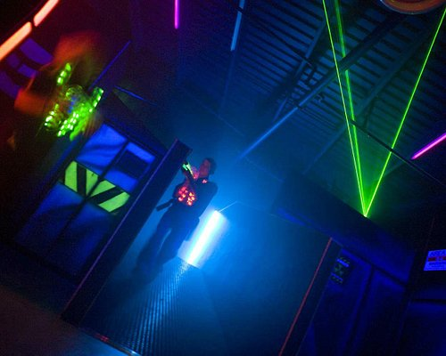 Lasertag arena with different light and smoke effects