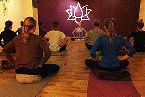 Morning yoga class at Pranamaya yoga studio Boudha