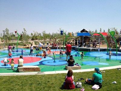 Centennial Center Park water play in the summer