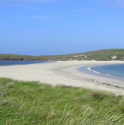 """The beach or """"tombolo"""" at St. Ninian's Isle"""