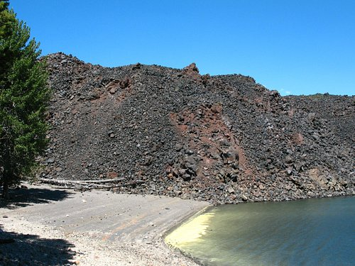 Fantastic Lava Beds as they enter the north end of Snag Lake