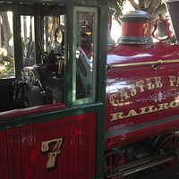 """Castle Park's train that circles the park.  """"Watch out for the buffalo on the"""