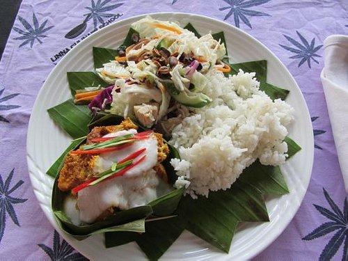 Fish Amok and Crispy Rice Noodle Salad