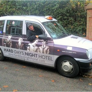 Joey in his FAB taxi. Best ambassador for Liverpool!