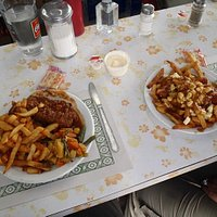 The poutine (right) is superb...the meatloaf, good but not exceptional.