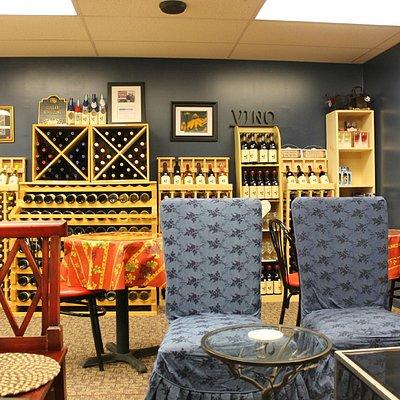 attractive display of wines