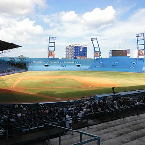 Building across from stadium with Industriales logo painted