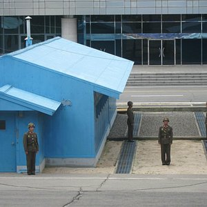 DMZ (DPRK military shown...South Korea went indoors)