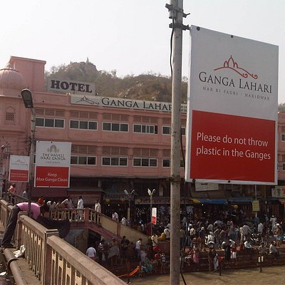View of shops from the bridge at Gau Ghat