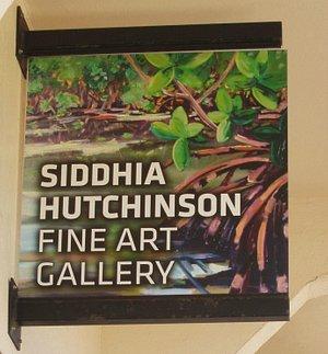 Gallery sign under Hotel portico