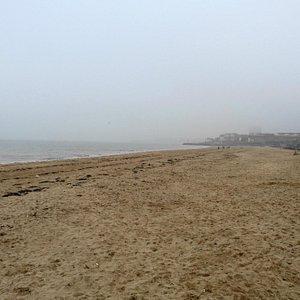 Westbrook Bay beach on a misty February day