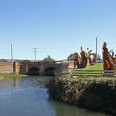 The Red Bridge and Timber Carvings