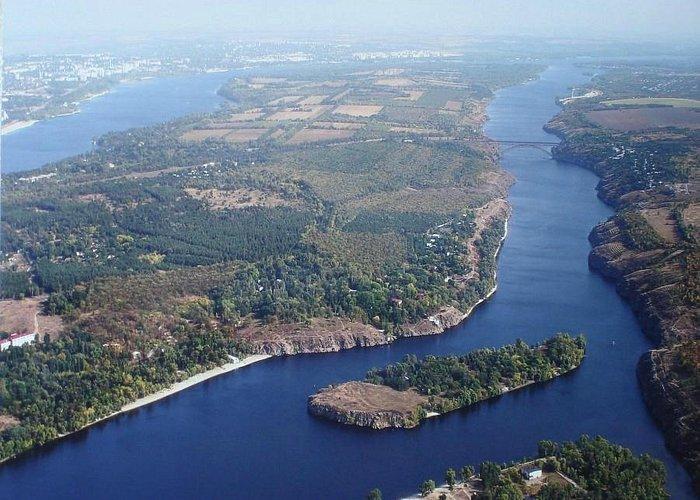 Khortytsia Island from the air