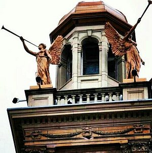 the top of the Justice Building i believe. A beutiful architecture masterpiece you wont miss.