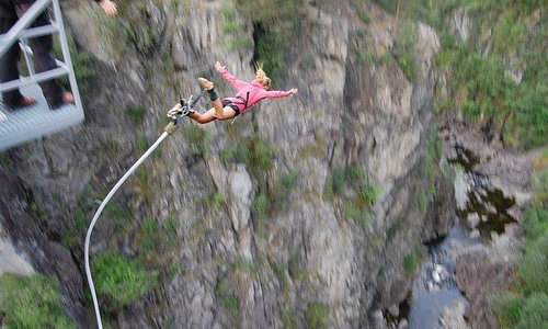 Bungee jump from Vemork bidge