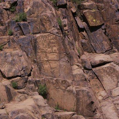 Petroglyphs on the canyon sides