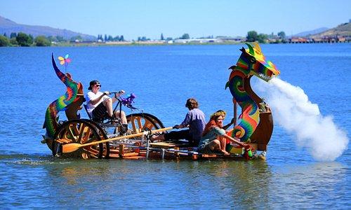 Annual Kinetic Sculpture Race in Klamath Falls on Lake Ewauna