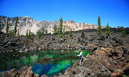 Fly-fishing on Wizard Island at Crater Lake National Park