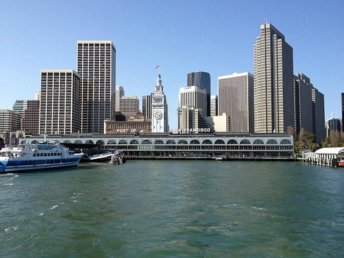 A view of the embarcadero from stern of Larkspur ferry