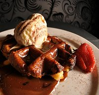 Beligian Waffles with Ice Cream & Mars Bar Sauce
