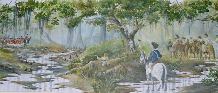 Wyboo Swamp mural on the north wall of the IGA, Manning 29102