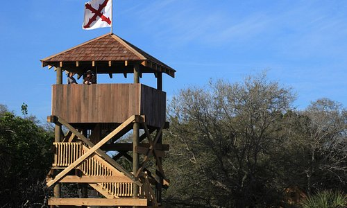 Guests enjoy a beautiful view from the top of this 35 foot watchtower.