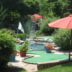 Water features, flowers and shade on our mini-golf course
