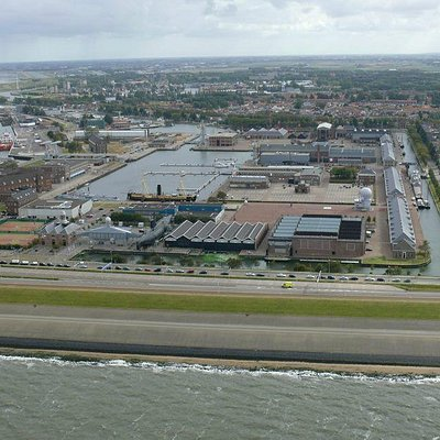 Helicopterview of the Dutch Navy Museum from the North