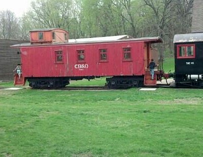 Old train at the pioneer village at Scott County Park