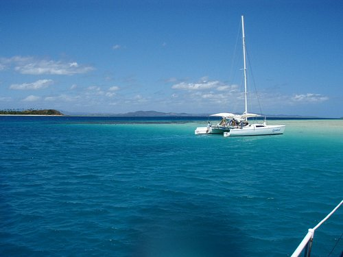 Anchored at the Sand Bar.... Snorkelling time!