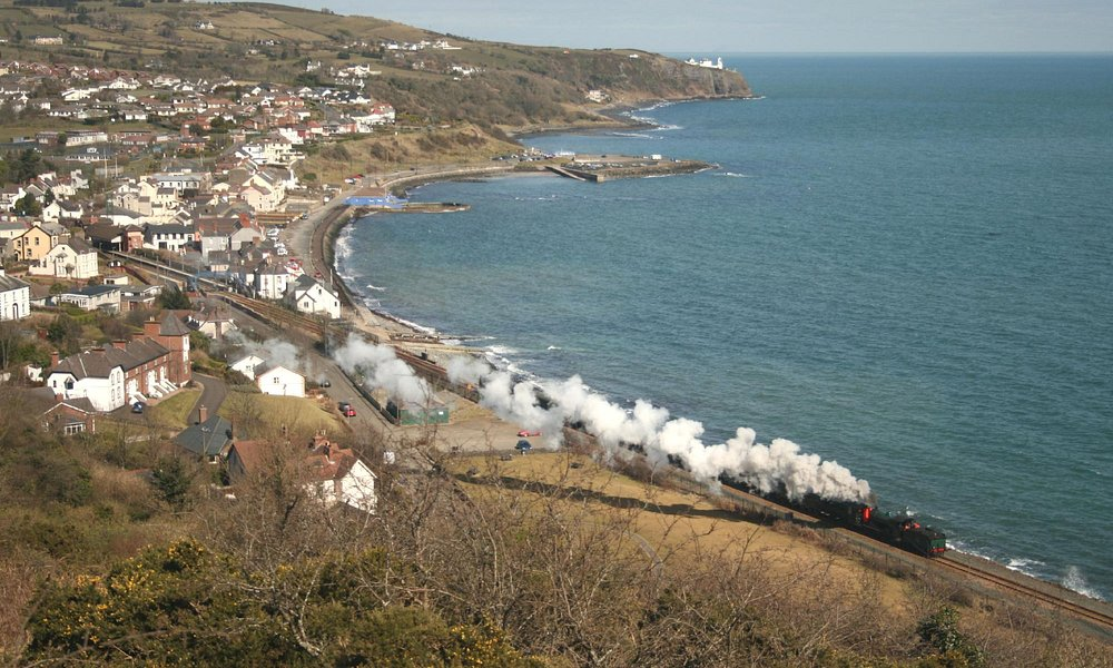 Tourists arriving in steam train style.