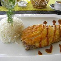 Grilled fish with rice.