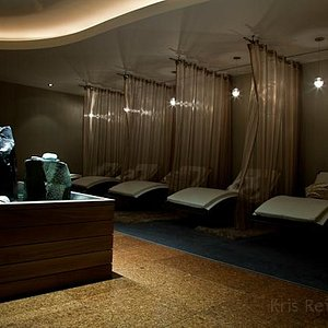 Sanctuary features private leather lounge chairs, relaxing spa music, and soothing fountains