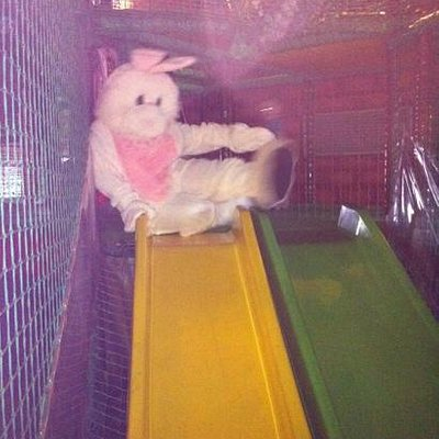 easter bunny at the fuzzy eds cocket hat aberdeen