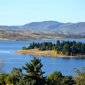 Lake Jindabyne takes on different appearances as the day passes.