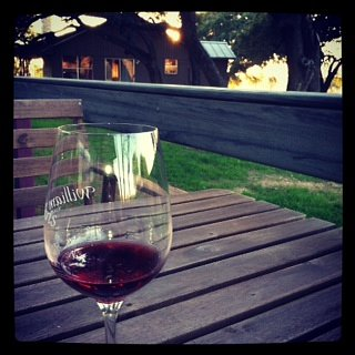 Enjoying a nice glass in the hill country