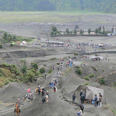descending from mount Bromo,s active Volcano