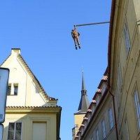 Man Hanging Out sculpture