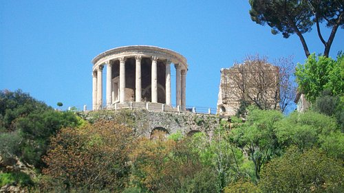 The temple seen from within Parco Gregoriano