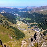 A view of the cables and valley below.  You can see Le Mont Dore in the distance.